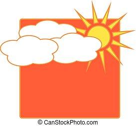 nap, időjárás, elhomályosul, ikon