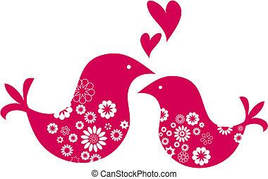 nap, kártya, dekoratív, madarak, köszönés, két, valentines
