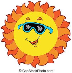 nap, karikatúra, boldog