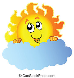 nap, karikatúra, felhő, birtok