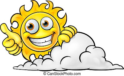 nap, karikatúra, felhő, kabala