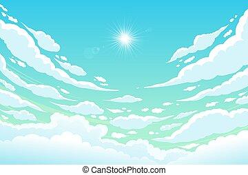 nap, nap, shining., felhős, vektor, tiszta égbolt
