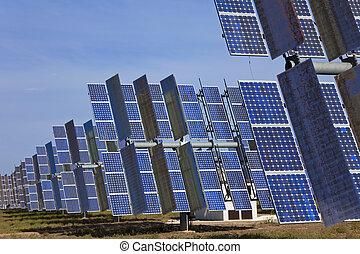 nap-, photovoltaic, zöld terep, fanyergek, energia