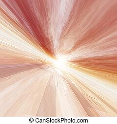 nap, rács, piros, horizont, mutat