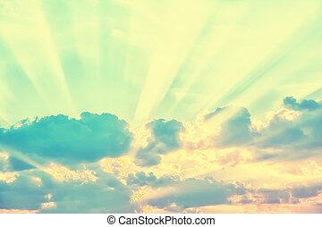 nap rays, elhomályosul, át, ég