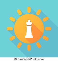 nap, sakkjáték, alak, hosszú, árnyék, király