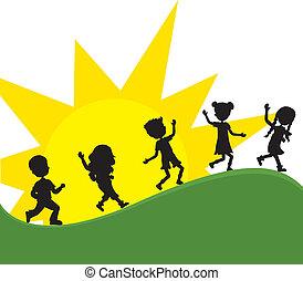 nap, silhoeuttes, gyerekek, háttér