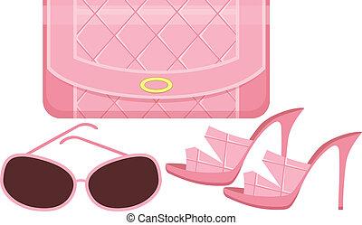 nap, táska, cipők, női, szemüveg