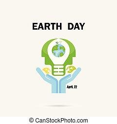 nap, vagy, fej, földgolyó, template., gumó, poszter, kampány, háttér., emberi, concept., ikon, vektor, kézbesít, földdel feltölt, tervezés, fény, gondolat, elvont, ábra, kártya, jel, köszönés