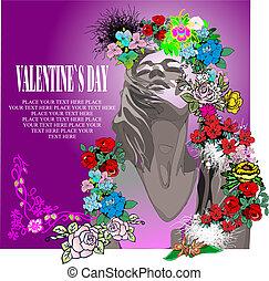 nap, valentine s, kártya, virágos, köszönés