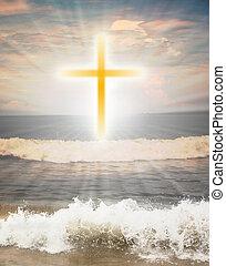 nap, vallásos, ragyog, kereszt, ellen, jelkép, keresztény