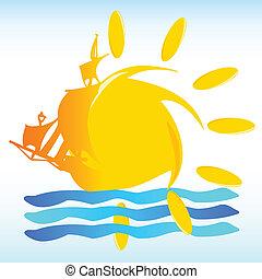 nap, vektor, csónakázik, ábra, aláír