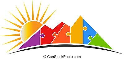 nap, vektor, rejtvény, jel, ábra, hegy