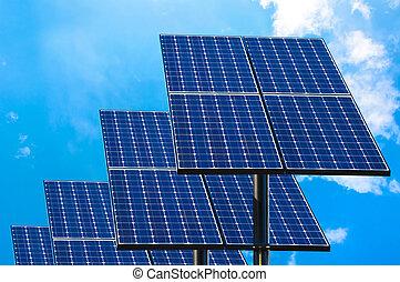 nap-, zöld, technológia, panels.