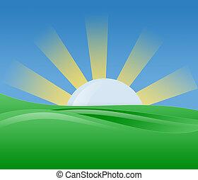 napfény, ábra, reggel