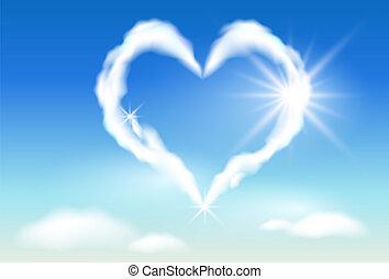 napfény, felhő, szív