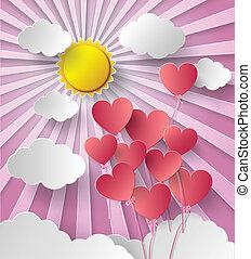 napfény, vektor, heart., balloon, ábra