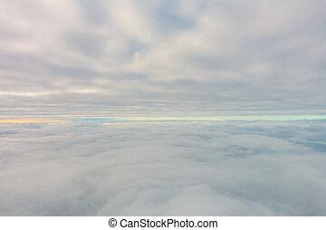 napkelte, ablak, elhomályosul, repülőgép, felül