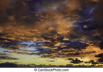 napkelte, elhomályosul, hawaii, békés, felül