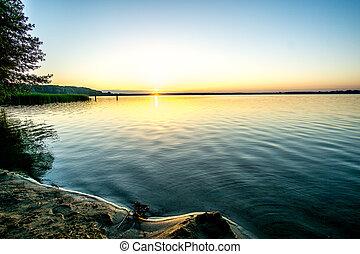 napkelte, fenntartás, tó, nádas, természet