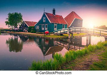 napkelte, hagyományos, schans, touristic, zaanse, épület, méltóságteljes, falu