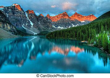 napkelte, moréna, táj, színes, tó