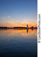 napkelte, napnyugta, tó, /