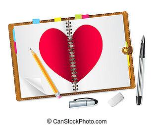napló, szív, nyílik, piros