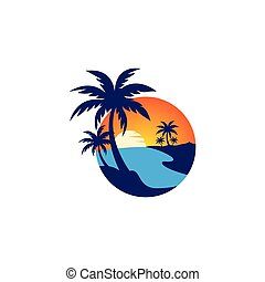 naplemente tengerpart, ikon, vektor, jel