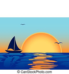 napnyugta, árnykép, tenger, csónakázik