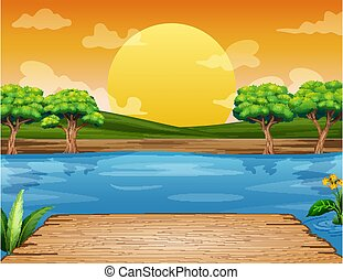 napnyugta, bírói szék, fából való, felügyelő, folyó