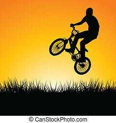 napnyugta, bringás, ugrás, árnykép