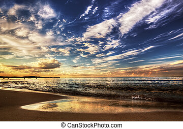 napnyugta, drámai ég, óceán, alatt, csendes