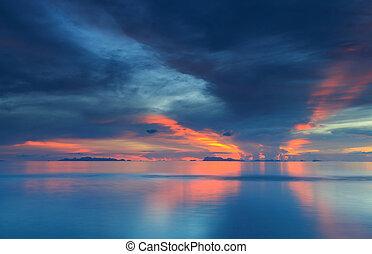 napnyugta, drámai, hajnalodik, tropikus, körképszerű, ég, tenger