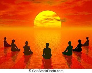 napnyugta, elmélkedés, -, render, 3