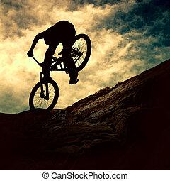 napnyugta, ember, árnykép, muontain-bike