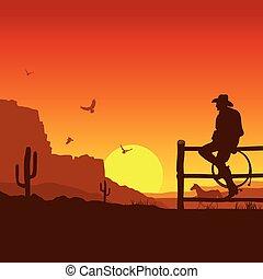 napnyugta, este, vad, american nyugat, táj, cowboy