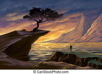 napnyugta, fa, tenger, szirt