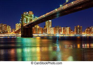 napnyugta, felett, york, manhattan, -, város, bridzs, új, brooklyn, gyönyörű