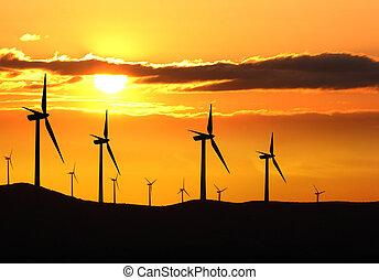 napnyugta, felteker, felett, turbina, tanya, árnykép