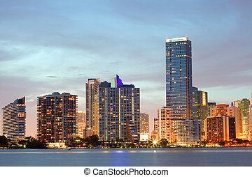 napnyugta, florida, felett, miami, belvárosi
