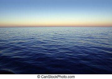 napnyugta, gyönyörű, napkelte, ég, felett, kék, piros, óceán, tenger