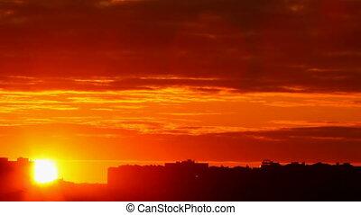 napnyugta, háttér, város