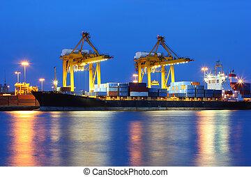 napnyugta, ipari, rév, hajózás, thaiföld, bangkok