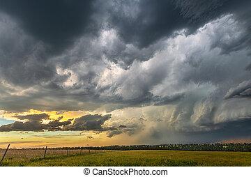napnyugta, megrohamoz, képződés, felhő