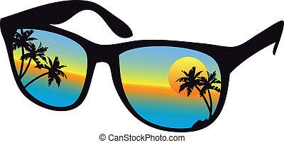 napnyugta, napszemüveg, tenger