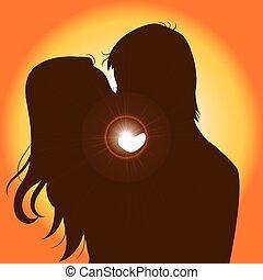 napnyugta, párosít, árnykép, csókolózás
