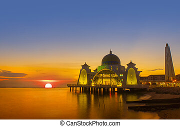 napnyugta, selat, mecset