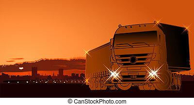 napnyugta, semi-truck