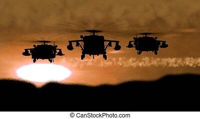 """napnyugta, """"silhouette, ég, éjszaka, helikopter, hadi, repülés, háttér., """""""